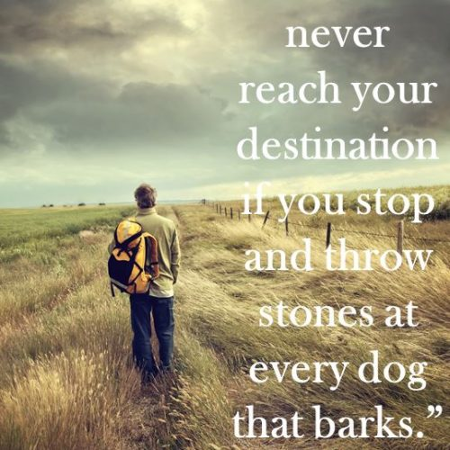 """You will never reach your destination if you stop and throw stones at every dog that barks."" Winston S. Churchill"