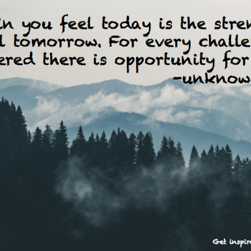 """The pain you feel today is the strength you feel tomorrow"""